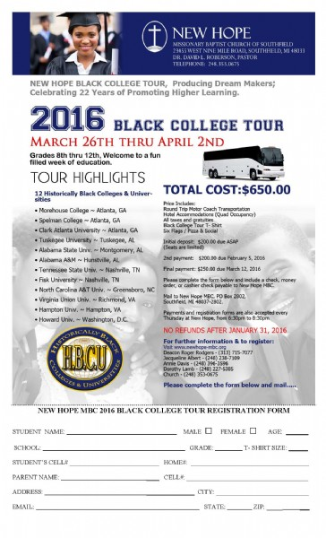 New Hope Missionary Baptist Church Black College Tour