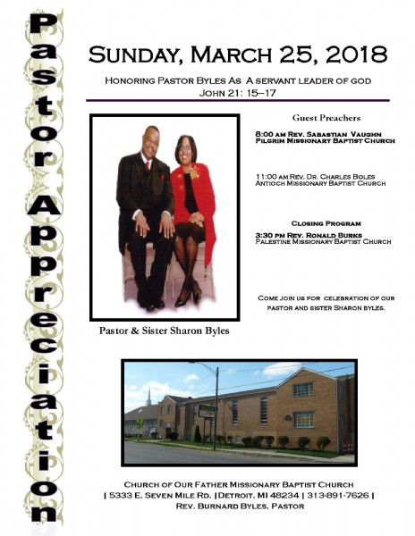 Church of Our Father Missionary Baptist Church Celebrates the