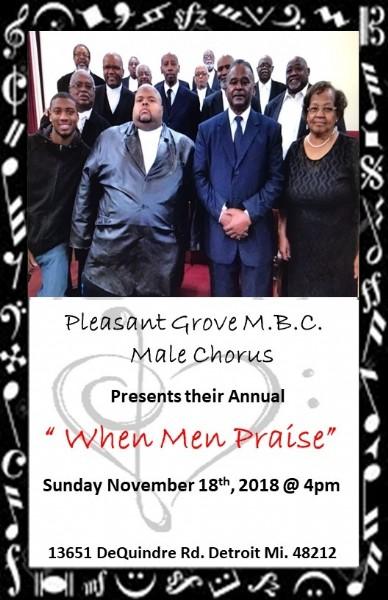 Pleasant Grove MBC Male Chorus presents annual concert